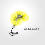 五颜六色的电灯泡商标设计和创造性的脑子想法概念 库存例证