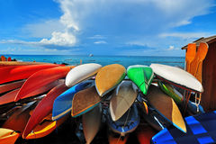 五颜六色的皮船 库存图片