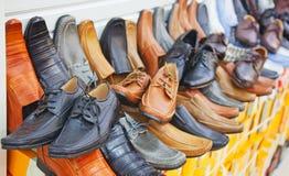 五颜六色的皮鞋 库存照片