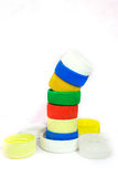 五颜六色的盒盖塑料 图库摄影
