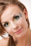 五颜六色的眼睛女孩纵向 免版税库存图片