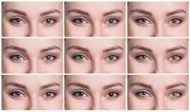 五颜六色的眼睛拼贴画特写镜头 库存图片