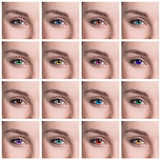 五颜六色的眼睛拼贴画特写镜头 免版税库存照片