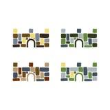 五颜六色的石堡垒商标 免版税库存照片