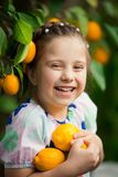 五颜六色的礼服的美丽的矮小的愉快的女孩在柠檬庭院采摘在她的篮子的Lemonarium里新鲜的成熟柠檬 库存照片
