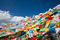 五颜六色的祷告标志,四川,瓷 免版税库存图片