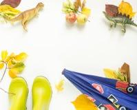 五颜六色的秋叶,孩子雨靴,哄骗伞,玩具恐龙,苹果 秋天背景特写镜头上色常春藤叶子橙红 感恩天概念 库存照片