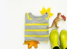 五颜六色的秋叶,孩子雨靴,条纹毛线衣,玩具恐龙 秋天背景特写镜头上色常春藤叶子橙红 感恩天概念 秋天成套装备 图库摄影
