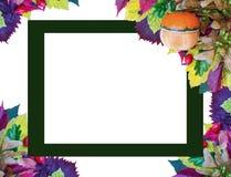 五颜六色的秋天背景、卡片用南瓜和叶子为感恩天 免版税库存照片