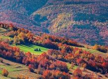 五颜六色的秋天风景在山村 免版税库存图片