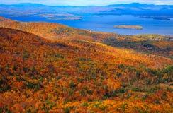 五颜六色的秋天风景有湖视图 免版税库存照片
