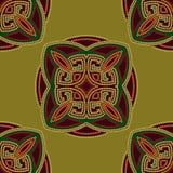 五颜六色的种族无缝的样式背景以绿色和伯根地,橙色颜色 免版税库存照片