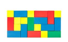 五颜六色的积木墙壁  免版税图库摄影
