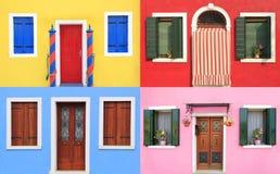 五颜六色的窗口在Burano,在威尼斯附近 免版税库存图片