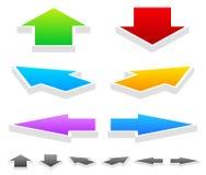 五颜六色的箭头用不同的方向:下来3D,左, Righ 库存图片