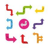 五颜六色的箭头被设置的传染媒介设计元素 库存图片