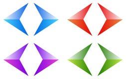 五颜六色的箭头,箭头 发光,光滑的箭头标志,按钮 库存图片