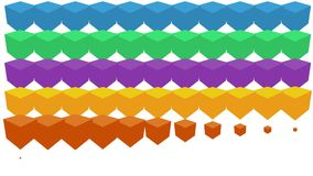 五颜六色的箱子或立方体出现在白色背景 与移动的方形的形状的抽象背景动画 五颜六色 向量例证
