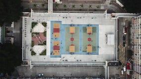 五颜六色的篮球场在香港 影视素材