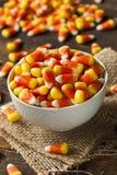 五颜六色的糖味玉米为万圣夜 库存照片