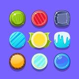 五颜六色的糖果闪光比赛元素模板设计设置与三的圆的甜点在录影的行类型 免版税库存照片