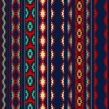 五颜六色的红色橙色蓝色阿兹台克人镶边了装饰品几何种族无缝的样式 免版税库存照片