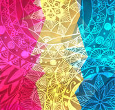 五颜六色的红色,桃红色和黄色传染媒介油漆飞溅 印地安人Holi节日背景 水彩横幅与 库存照片