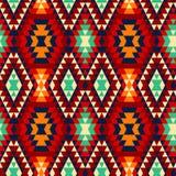 五颜六色的红色黄色蓝色和黑阿兹台克装饰品几何种族无缝的样式,传染媒介 免版税库存照片