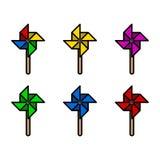 五颜六色的纸风车设置与肥胖形状 也corel凹道例证向量 库存例证