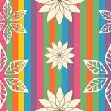 五颜六色的线与floralbackground例证的无缝的样式 免版税库存照片