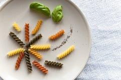 五颜六色的组成的fusilli意大利面食 免版税库存图片