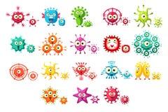 五颜六色的细菌漫画人物设置了,与滑稽的面孔传染媒介例证的逗人喜爱的微生物在白色背景 皇族释放例证