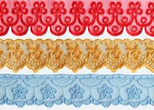 五颜六色的织品鞋带 库存照片