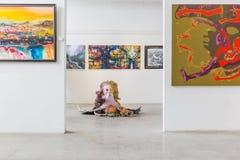 五颜六色的绘画和艺术品在美术画廊 库存照片