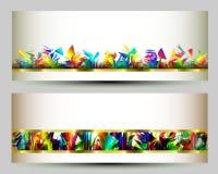 五颜六色的网横幅模板 抽象背景 免版税库存照片