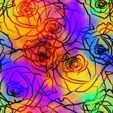 五颜六色的罗斯花卉领带和染料传染媒介背景 库存照片