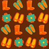 五颜六色的羊毛拖鞋和起动无缝的样式 向量例证