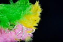 五颜六色的羽毛和白色perl项链在黑背景放置 库存图片