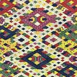 五颜六色的老挝丝绸手工造秘鲁由自然材料化学制品自由分类做的样式地毯表面老葡萄酒被撕毁的保护 免版税库存照片