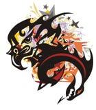 五颜六色的老鹰飞溅与龙头 免版税库存图片