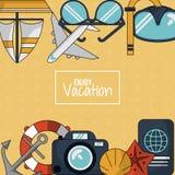 五颜六色的背景享受与船锚和漂浮箍和照相机和护照的假期 图库摄影