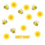 五颜六色的背景用向日葵和蜂 免版税库存照片