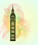 五颜六色的背景的大笨钟 伦敦视域 免版税图库摄影