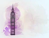 五颜六色的背景的大笨钟 伦敦视域 免版税库存图片