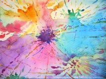 五颜六色的背景飞溅颜色下落绘画,设计例证 免版税图库摄影