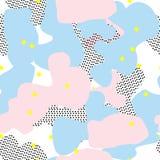 五颜六色的背景 无缝的模式 也corel凹道例证向量 粉红彩笔和蓝色纹理 孟菲斯样式 图库摄影