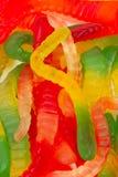 五颜六色的胶粘的蠕虫 库存照片
