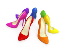 五颜六色的脚跟高鞋子 免版税库存图片