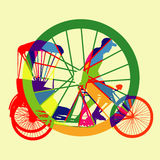 五颜六色的自行车出租汽车剪影传染媒介 免版税图库摄影