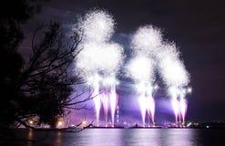 五颜六色的致敬在湖的一个假日 库存图片